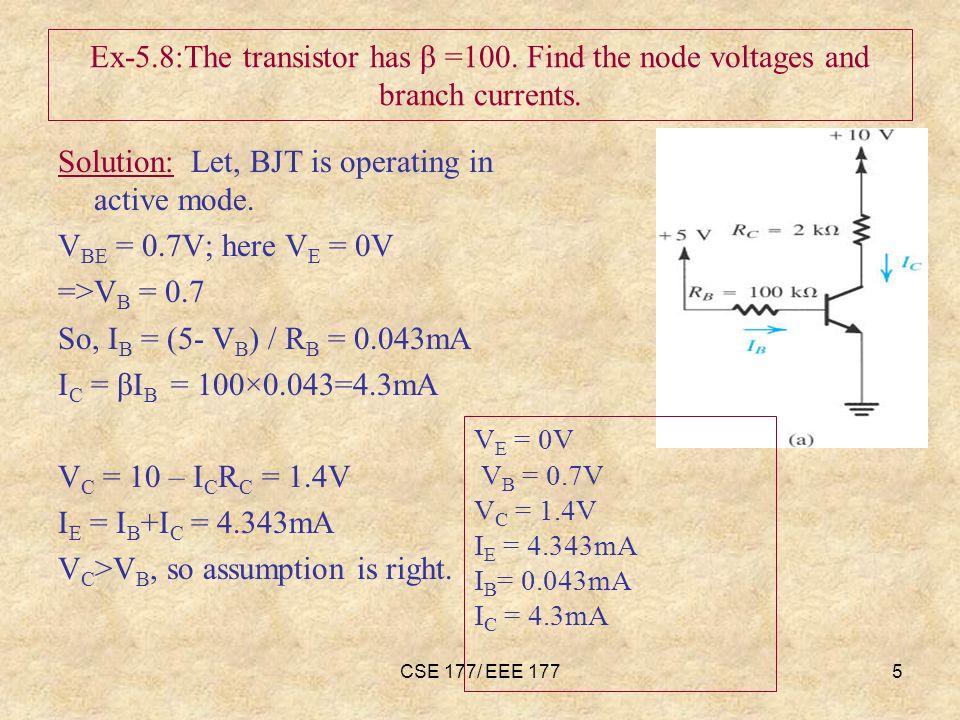 CSE 177/ EEE 1776 Ex-5.9:The transistor has β =100.