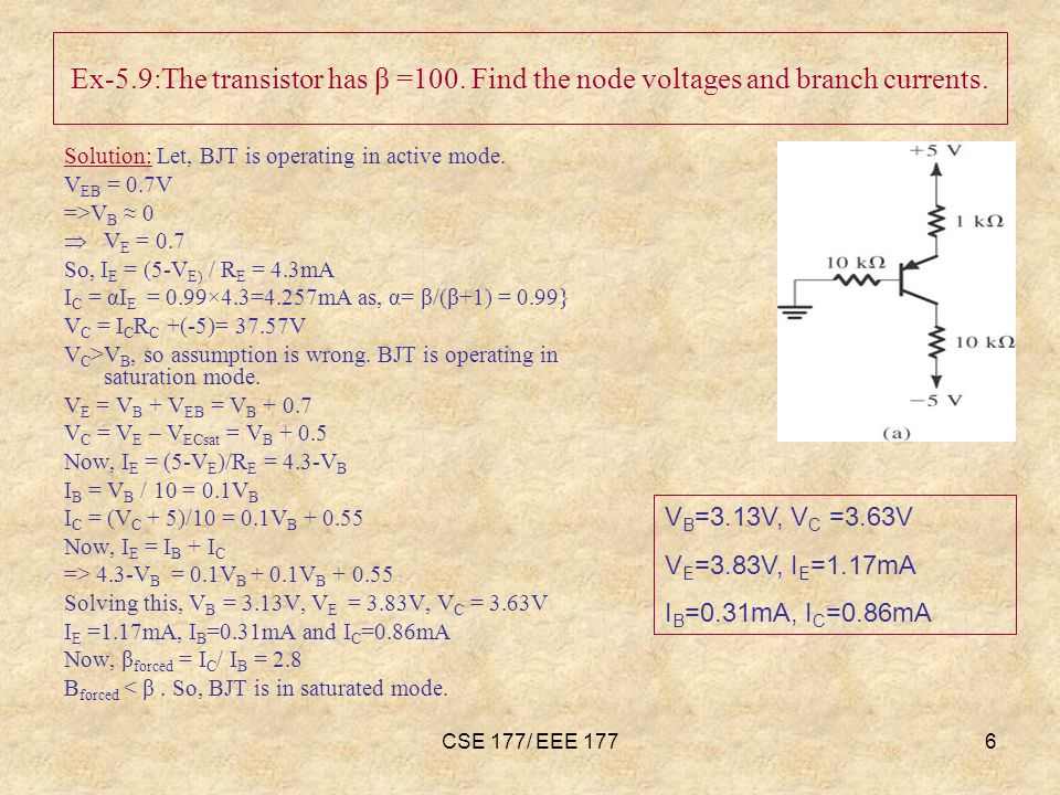 CSE 177/ EEE 1776 Ex-5.9:The transistor has β =100.