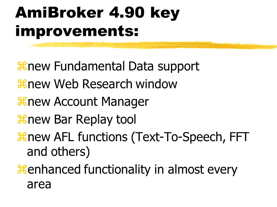 Fundamental data support new fundamental data fields in the Information window automatic download from free Yahoo Finance site access to fundamental data from AFL level