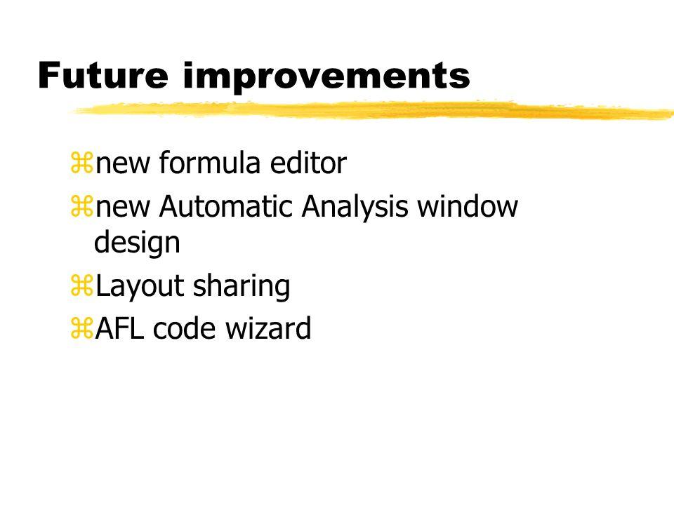 Future improvements znew formula editor znew Automatic Analysis window design zLayout sharing zAFL code wizard
