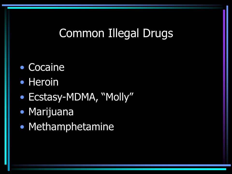 Common Illegal Drugs Cocaine Heroin Ecstasy-MDMA, Molly Marijuana Methamphetamine