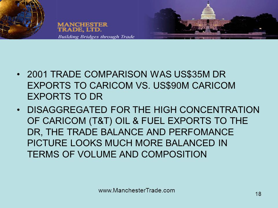 www.ManchesterTrade.com 18 2001 TRADE COMPARISON WAS US$35M DR EXPORTS TO CARICOM VS.