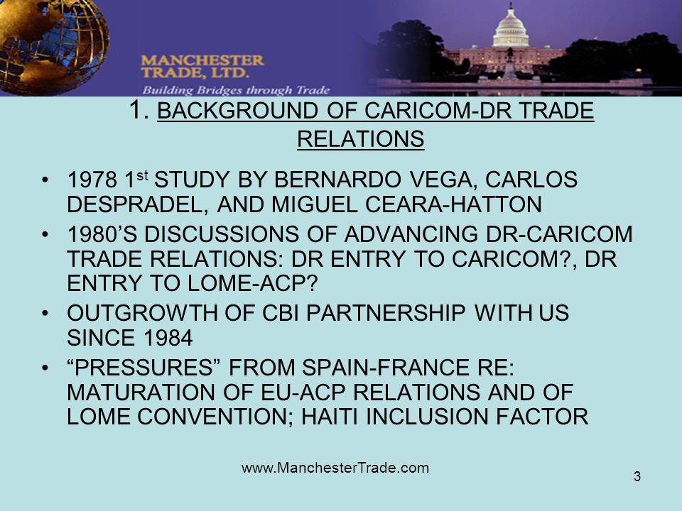 www.ManchesterTrade.com 3 1. BACKGROUND OF CARICOM-DR TRADE RELATIONS 1978 1 st STUDY BY BERNARDO VEGA, CARLOS DESPRADEL, AND MIGUEL CEARA-HATTON 1980