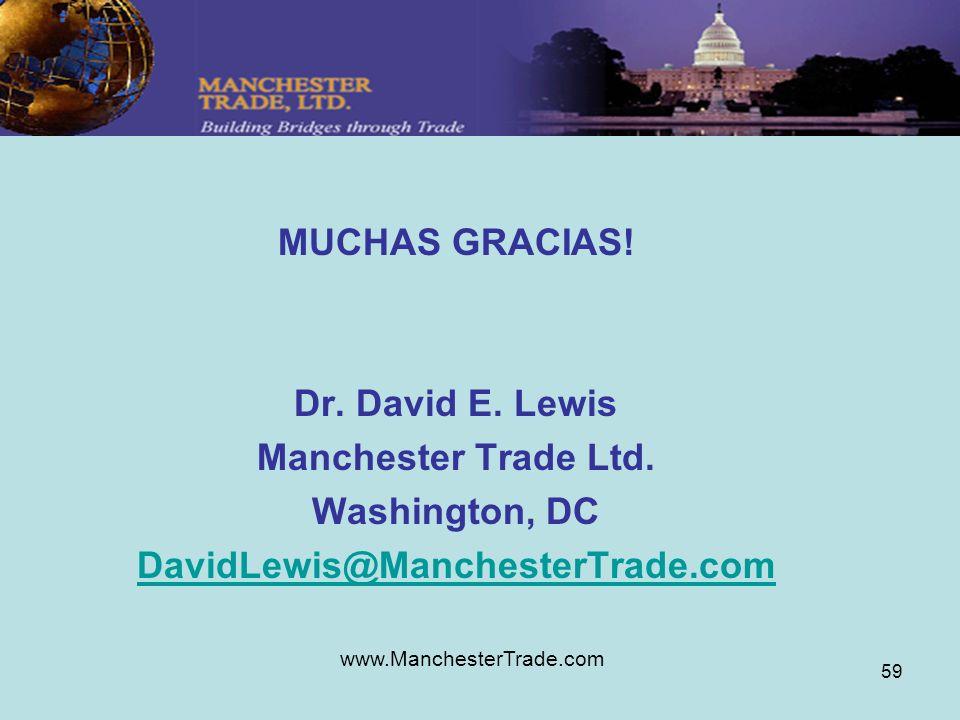 www.ManchesterTrade.com 59 MUCHAS GRACIAS! Dr. David E. Lewis Manchester Trade Ltd. Washington, DC DavidLewis@ManchesterTrade.com