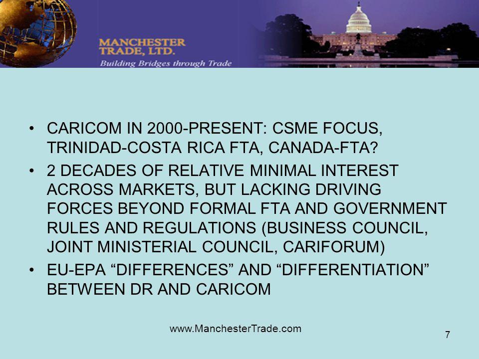www.ManchesterTrade.com 7 CARICOM IN 2000-PRESENT: CSME FOCUS, TRINIDAD-COSTA RICA FTA, CANADA-FTA? 2 DECADES OF RELATIVE MINIMAL INTEREST ACROSS MARK