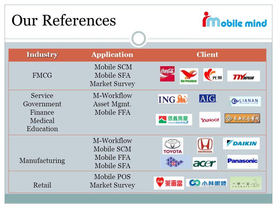 Our References IndustryApplicationClient FMCG Mobile SCM Mobile SFA Market Survey Service Government Finance Medical Education M-Workflow Asset Mgmt.