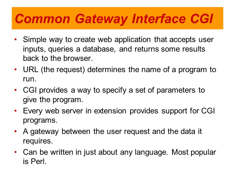 Common Gateway Interface CGI Simple way to create web application that accepts user inputs, queries a database, and returns some results back to the b