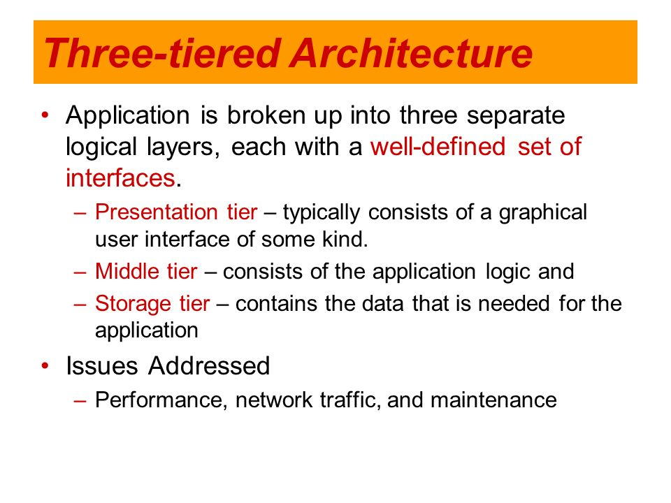 Three-tiered Architecture Application is broken up into three separate logical layers, each with a well-defined set of interfaces. –Presentation tier