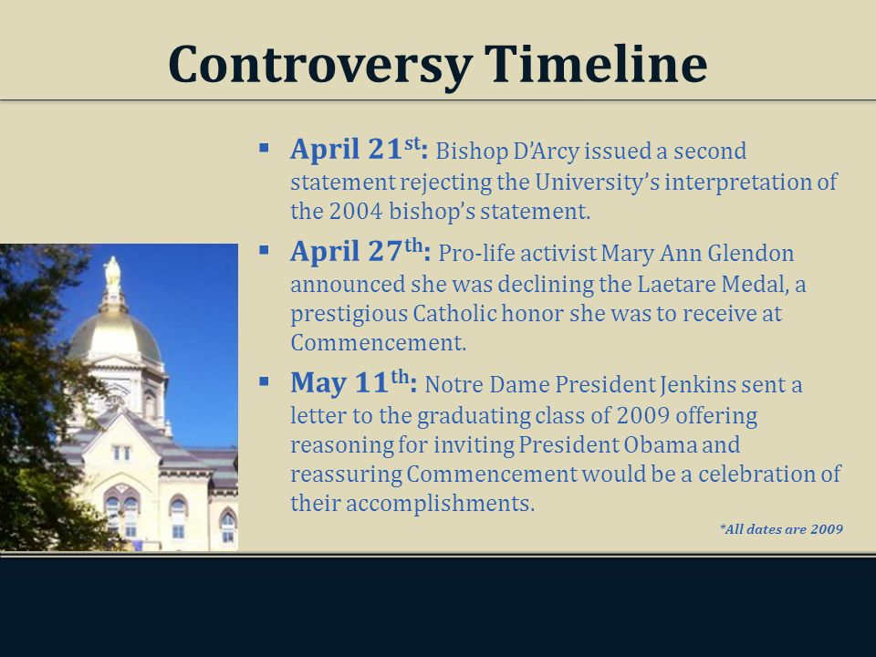 Controversy Timeline April 21 st : Bishop DArcy issued a second statement rejecting the Universitys interpretation of the 2004 bishops statement. Apri