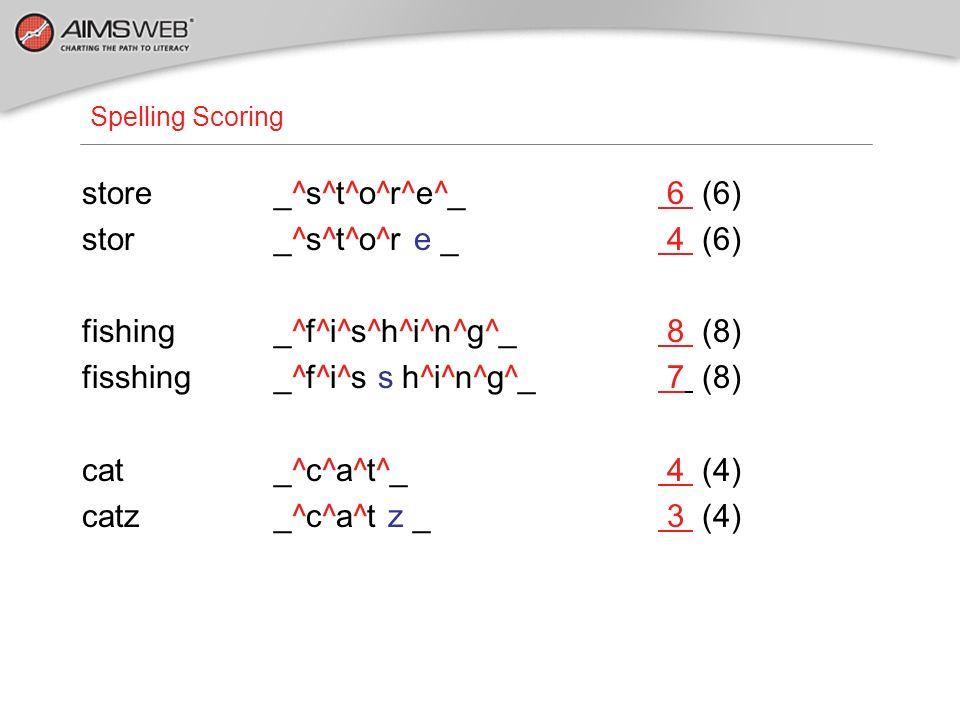 Spelling Scoring store_^s^t^o^r^e^_ 6 (6) stor_^s^t^o^r e _ 4 (6) fishing_^f^i^s^h^i^n^g^_ 8 (8) fisshing_^f^i^s s h^i^n^g^_ 7 (8) cat_^c^a^t^_ 4 (4)