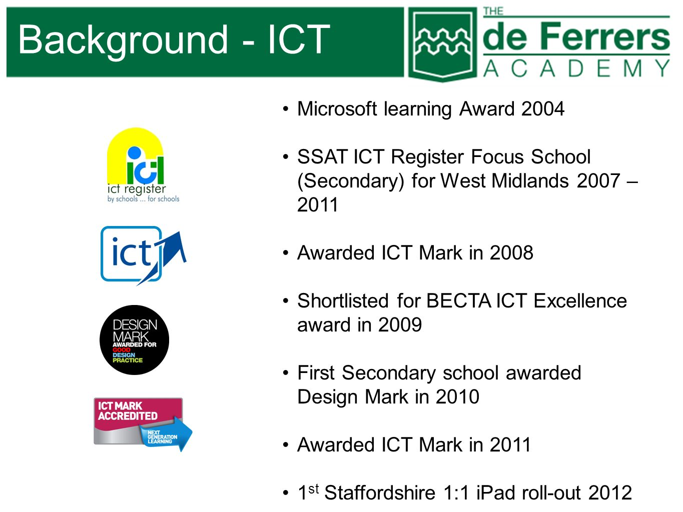 Background - ICT Microsoft learning Award 2004 SSAT ICT Register Focus School (Secondary) for West Midlands 2007 – 2011 Awarded ICT Mark in 2008 Short