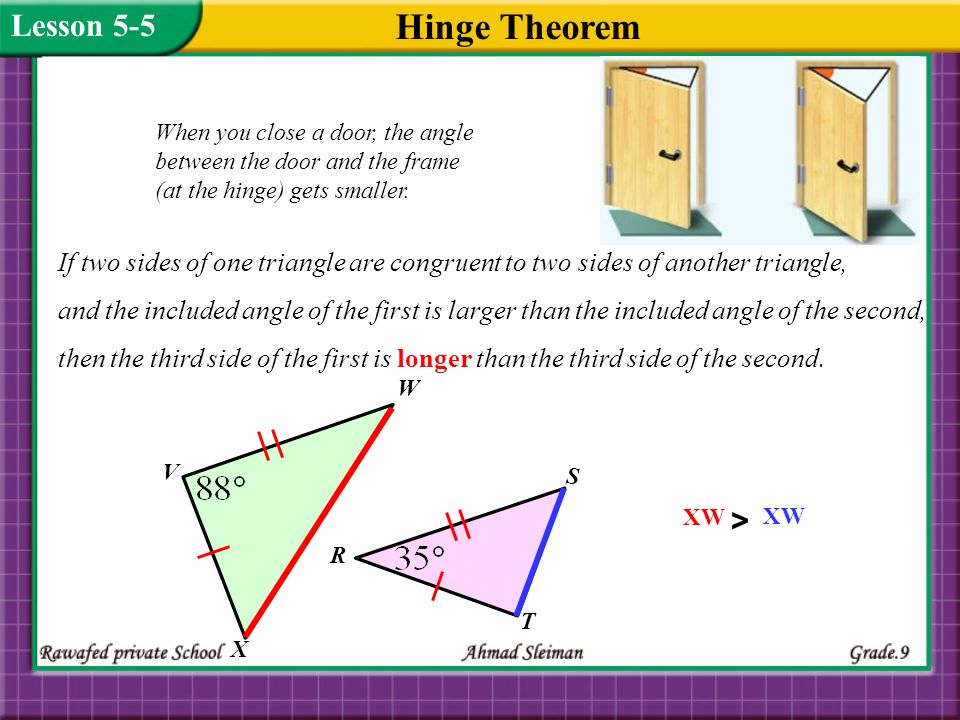 Using Hinge Theorem and its Converse Lesson 5-5 > 15)
