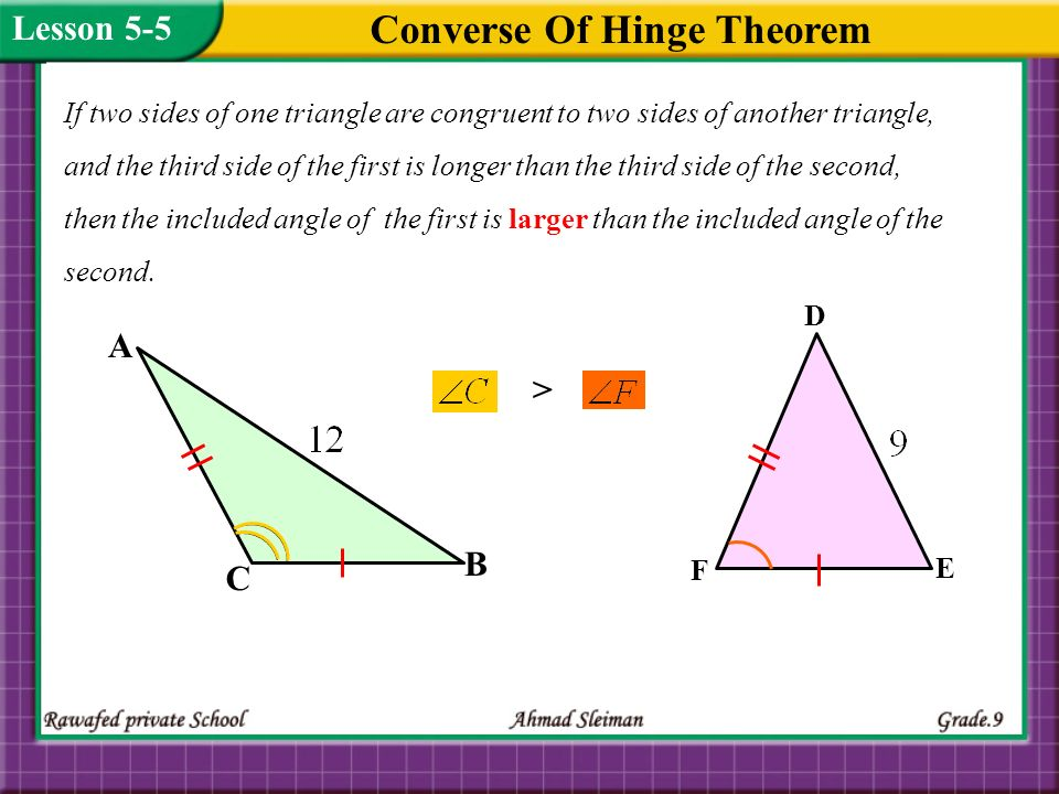 Using Hinge Theorem and its Converse Lesson 5-5