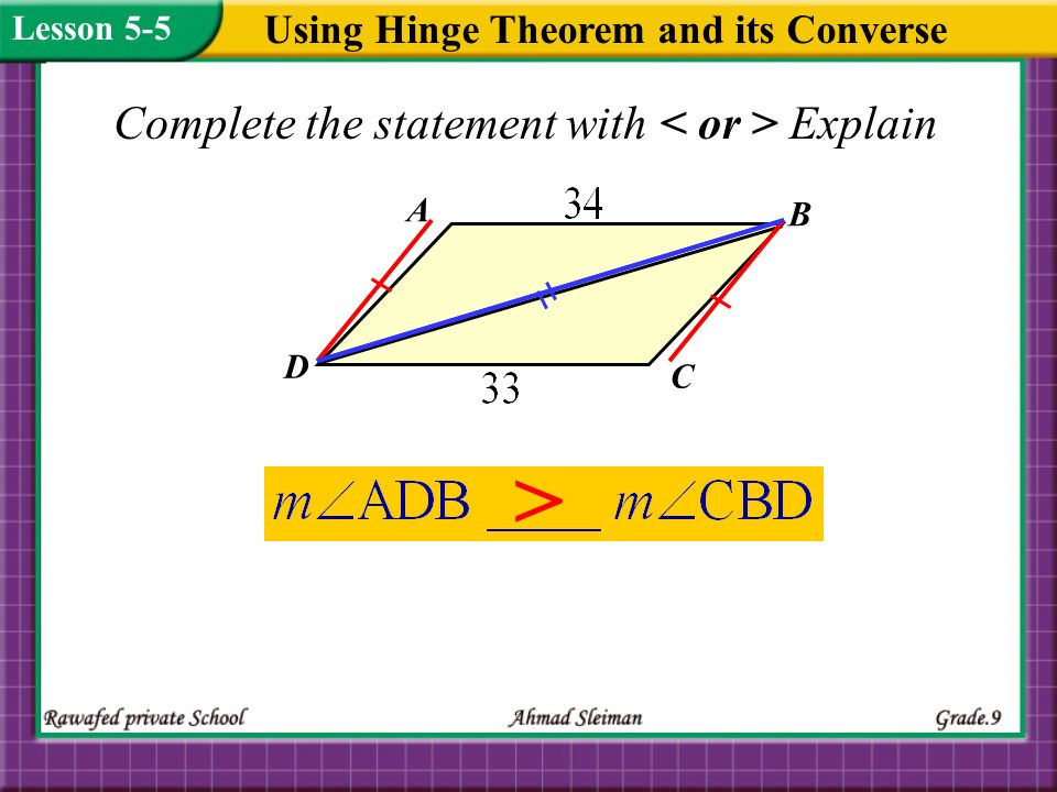 Using Hinge Theorem and its Converse Complete the statement with Explain > Lesson 5-5 A D B C
