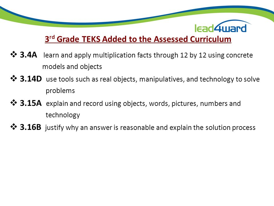 Elementary Mathematics Curriculum Grade Level Total Number of Student Expectations Assessed on TAKS Assessed on STAAR 3 rd Grade433236 4 th Grade42354