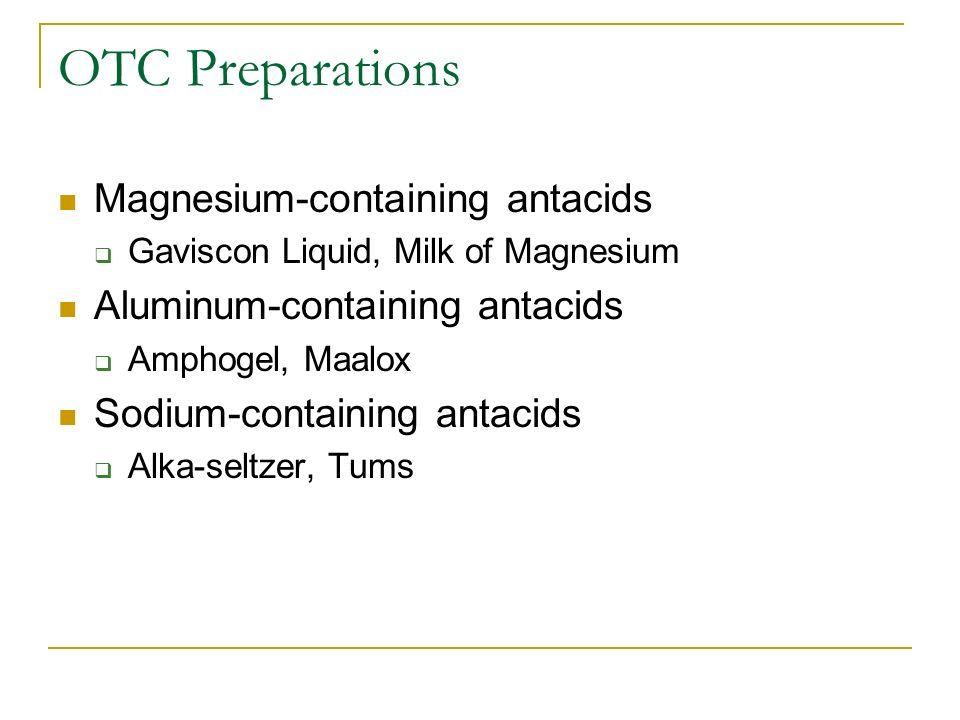 OTC Preparations Magnesium-containing antacids Gaviscon Liquid, Milk of Magnesium Aluminum-containing antacids Amphogel, Maalox Sodium-containing anta