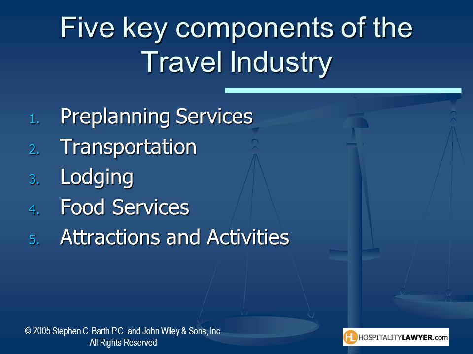 © 2005 Stephen C. Barth P.C. and John Wiley & Sons, Inc. All Rights Reserved Five key components of the Travel Industry 1. Preplanning Services 2. Tra