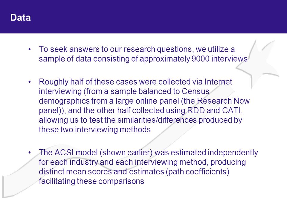 Data To seek answers to our research questions, we utilize a sample of data consisting of approximately 9000 interviews Roughly half of these cases we