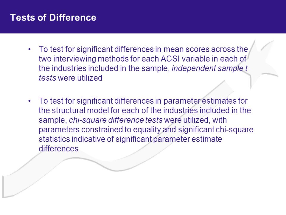 Tests of Difference To test for significant differences in mean scores across the two interviewing methods for each ACSI variable in each of the indus