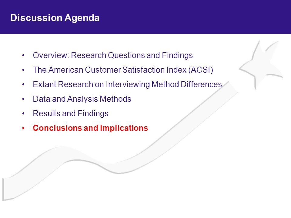 Overview: Research Questions and Findings The American Customer Satisfaction Index (ACSI) Extant Research on Interviewing Method Differences Data and
