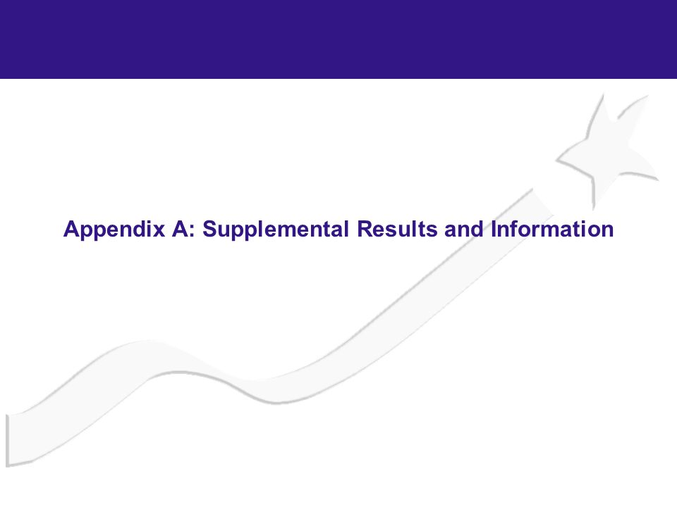 Appendix A: Supplemental Results and Information