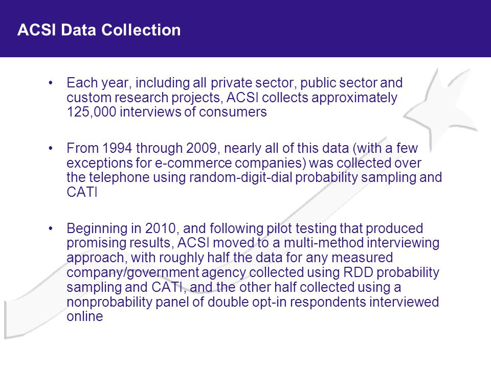 ACSI Data Collection Each year, including all private sector, public sector and custom research projects, ACSI collects approximately 125,000 intervie