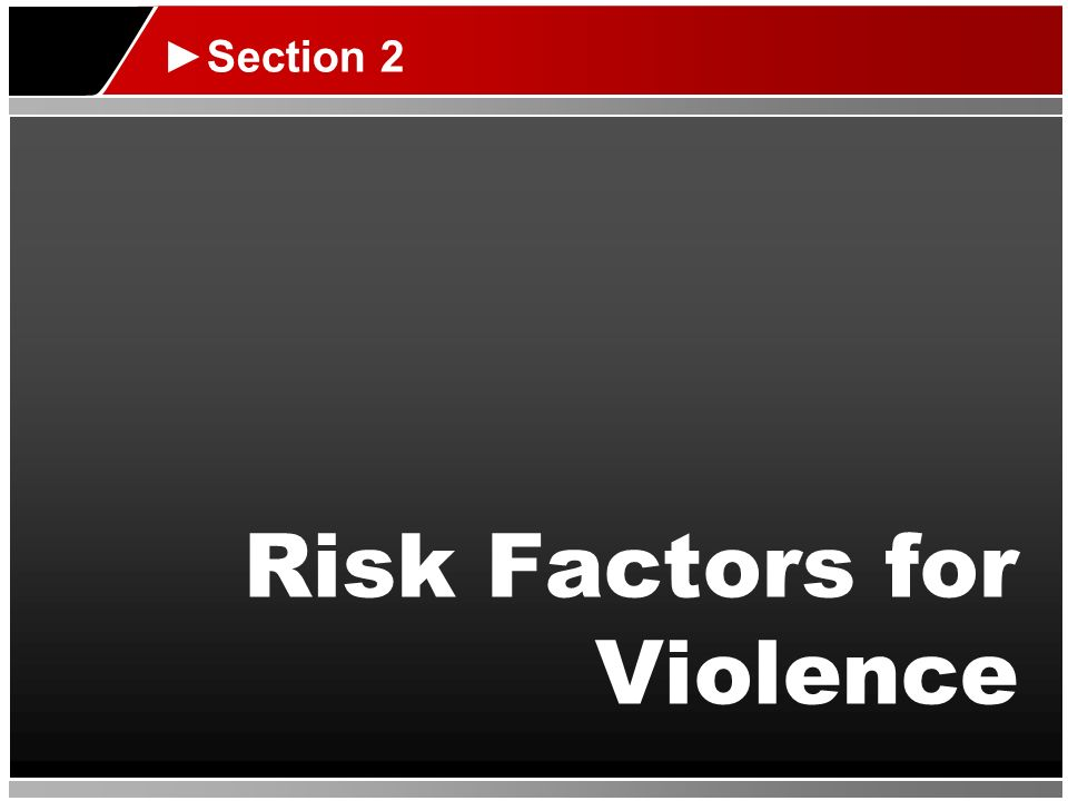 Risk Factors for Violence Section 2