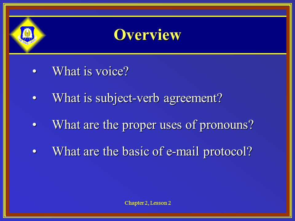 Chapter 2, Lesson 2 Overview What is voice What is voice.