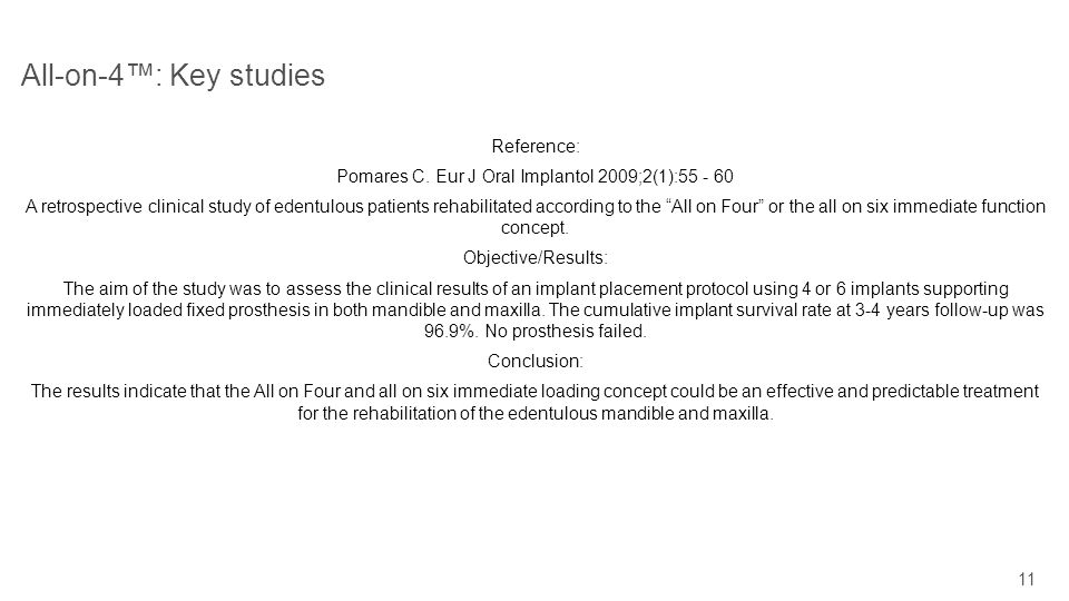 11 All-on-4: Key studies Reference: Pomares C. Eur J Oral Implantol 2009;2(1):55 - 60 A retrospective clinical study of edentulous patients rehabilita