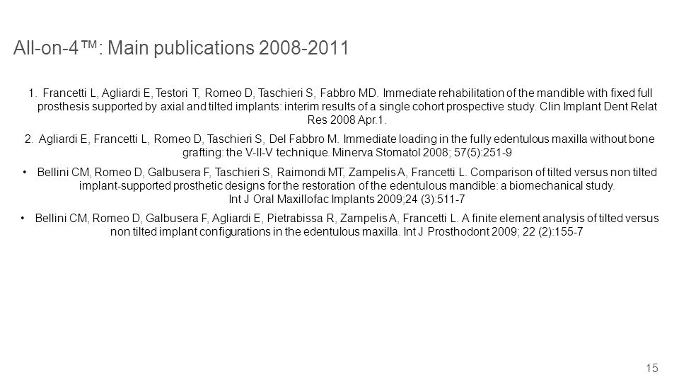15 All-on-4: Main publications 2008-2011 1.Francetti L, Agliardi E, Testori T, Romeo D, Taschieri S, Fabbro MD. Immediate rehabilitation of the mandib