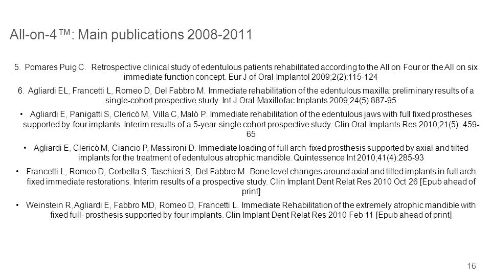 16 All-on-4: Main publications 2008-2011 5.Pomares Puig C. Retrospective clinical study of edentulous patients rehabilitated according to the All on F