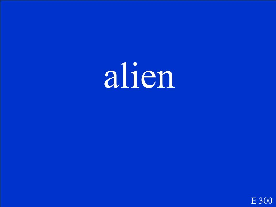 E 300 (n.) a citzen of another country; (adj.) foreign, strange