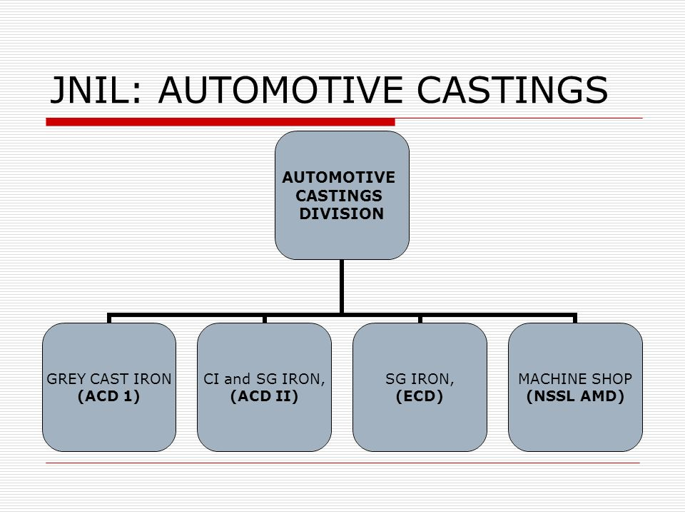JNIL: AUTOMOTIVE CASTINGS AUTOMOTIVE CASTINGS DIVISION GREY CAST IRON (ACD 1) CI and SG IRON, (ACD II) SG IRON, (ECD) MACHINE SHOP (NSSL AMD)