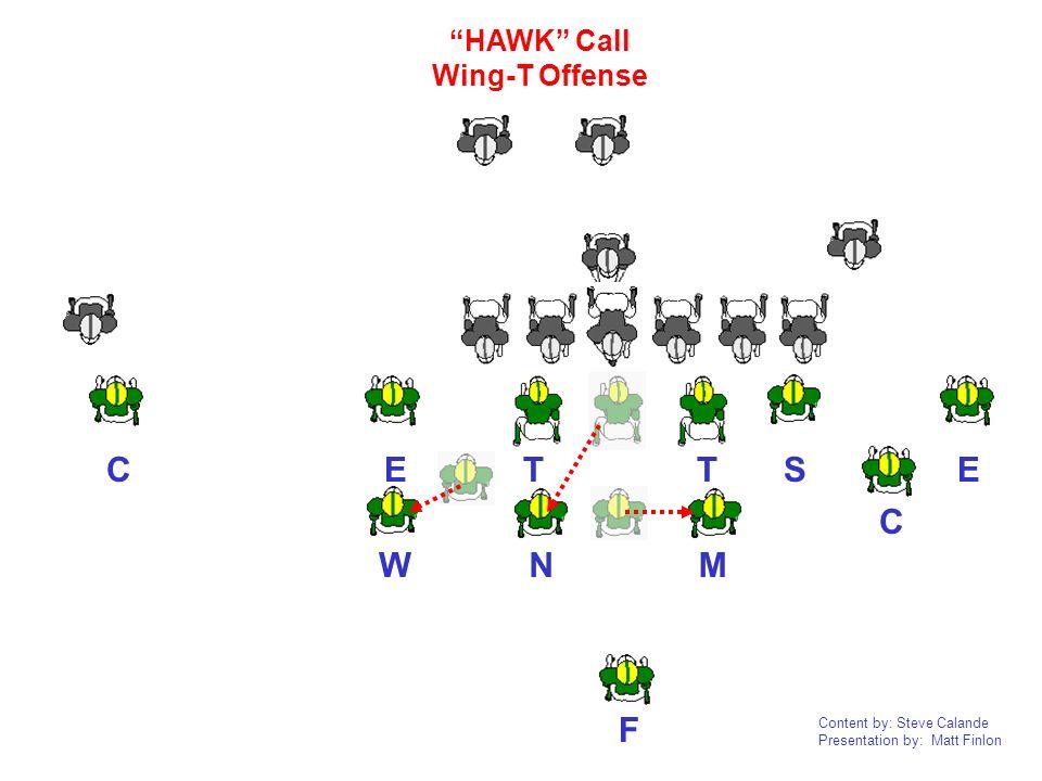 Content by: Steve Calande Presentation by: Matt Finlon N TTEEC C F WM S HAWK Call Wing-T Offense