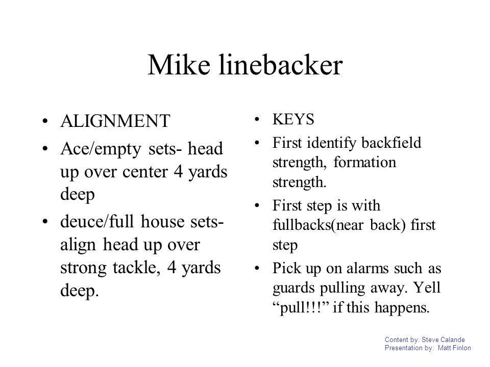 Content by: Steve Calande Presentation by: Matt Finlon Mike linebacker ALIGNMENT Ace/empty sets- head up over center 4 yards deep deuce/full house set
