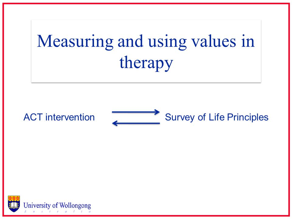 Measuring and using values in therapy ACT interventionSurvey of Life Principles