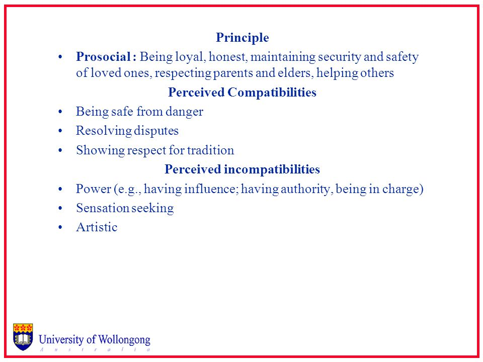 Principle Prosocial : Being loyal, honest, maintaining security and safety of loved ones, respecting parents and elders, helping others Perceived Comp