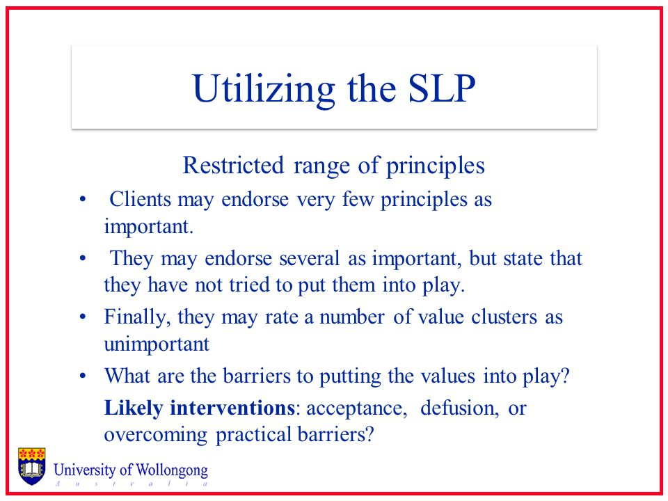 Utilizing the SLP Restricted range of principles Clients may endorse very few principles as important. They may endorse several as important, but stat