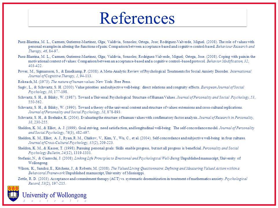 References Paez-Blarrina, M. L., Carmen; Gutierrez-Martinez, Olga; Valdivia, Sonsoles; Ortega, Jose; Rodriguez-Valverde, Miguel. (2008). The role of v