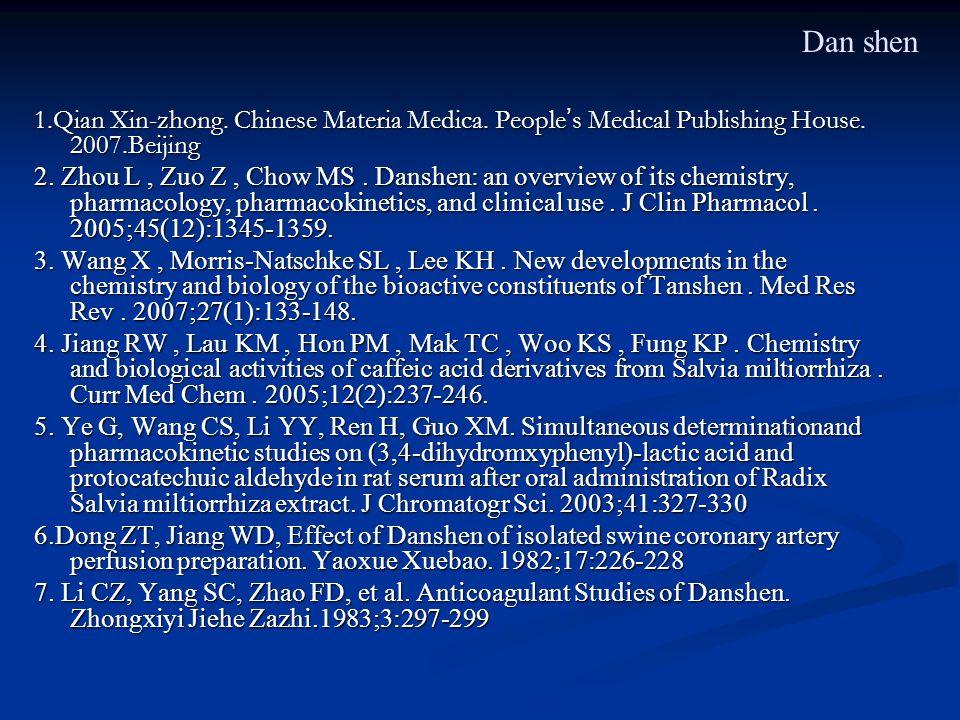 1.Qian Xin-zhong. Chinese Materia Medica. People s Medical Publishing House. 2007.Beijing 2. Zhou L, Zuo Z, Chow MS. Danshen: an overview of its chemi