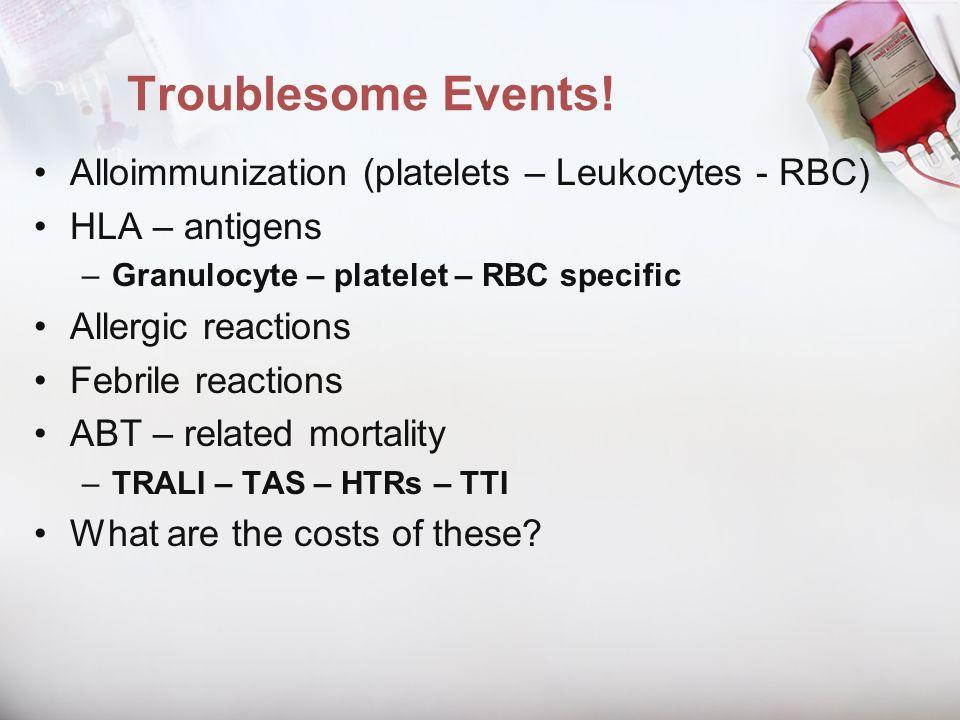 Troublesome Events! Alloimmunization (platelets – Leukocytes - RBC) HLA – antigens –Granulocyte – platelet – RBC specific Allergic reactions Febrile r