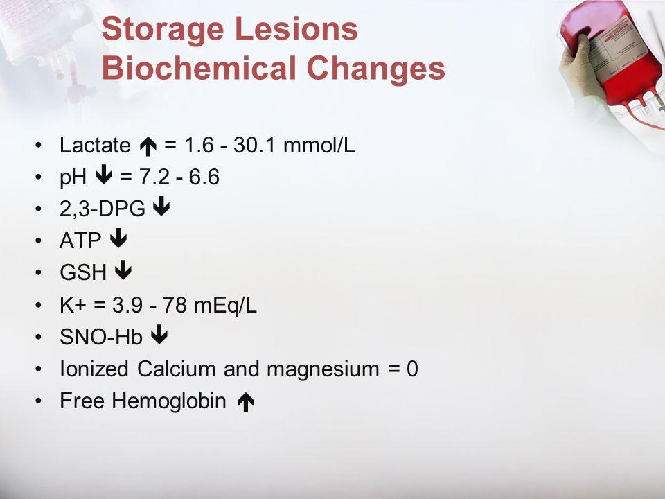 Storage Lesions Biochemical Changes Lactate = 1.6 - 30.1 mmol/L pH = 7.2 - 6.6 2,3-DPG ATP GSH K+ = 3.9 - 78 mEq/L SNO-Hb Ionized Calcium and magnesiu