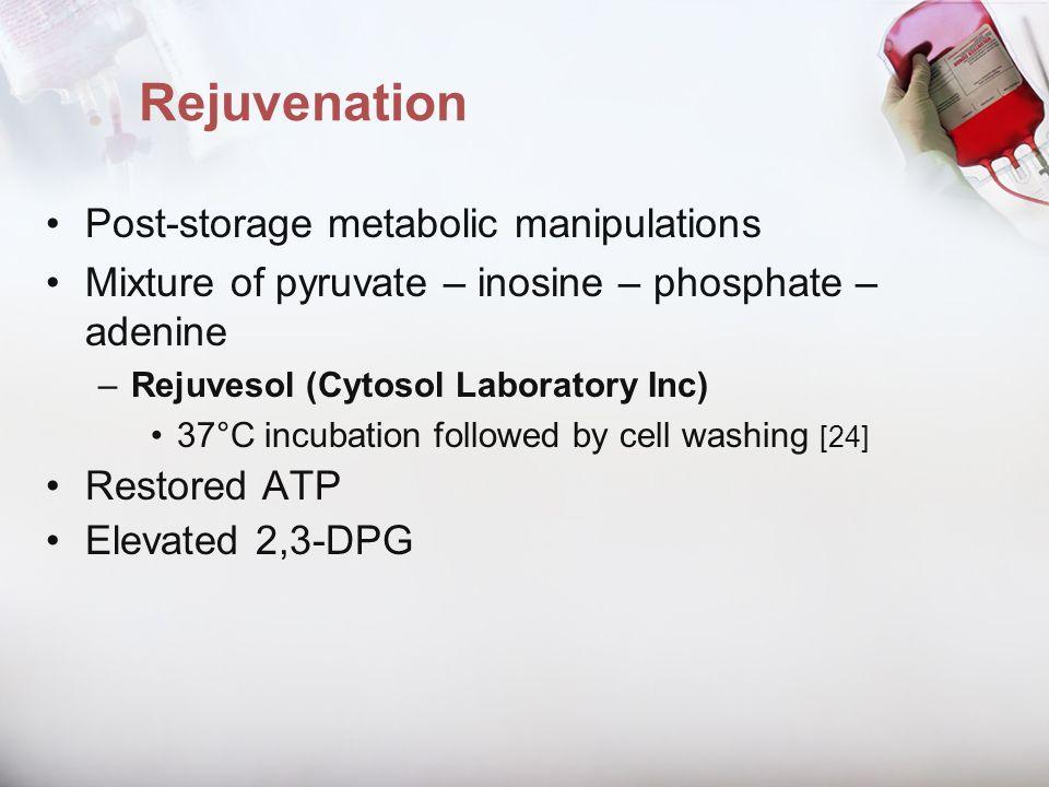 Rejuvenation Post-storage metabolic manipulations Mixture of pyruvate – inosine – phosphate – adenine –Rejuvesol (Cytosol Laboratory Inc) 37°C incubat