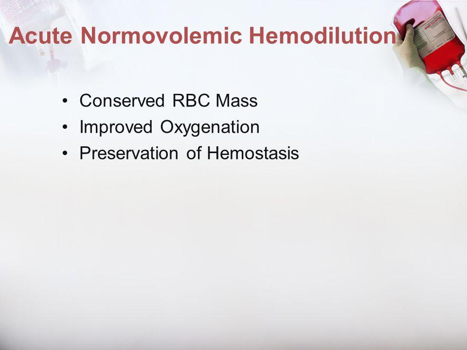 Acute Normovolemic Hemodilution Conserved RBC Mass Improved Oxygenation Preservation of Hemostasis
