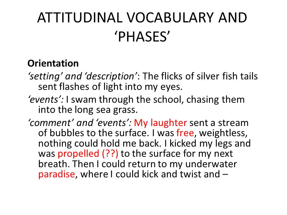 ATTITUDINAL VOCABULARY AND PHASES Orientation setting and description: The flicks of silver fish tails sent flashes of light into my eyes. events: I s