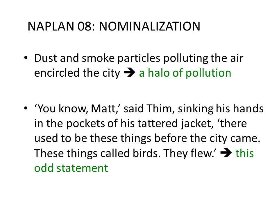 NAPLAN 08: NOMINALIZATION Dust and smoke particles polluting the air encircled the city a halo of pollution You know, Matt, said Thim, sinking his han