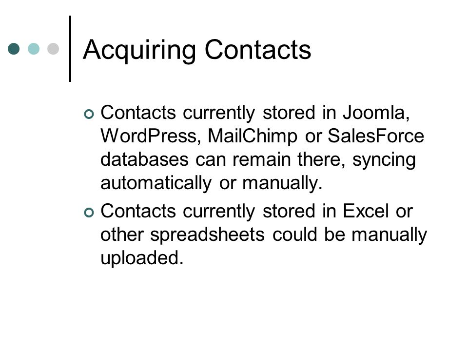 Acquiring Contacts AJET and outgoing JETs could manually add contacts to central database before they leave.