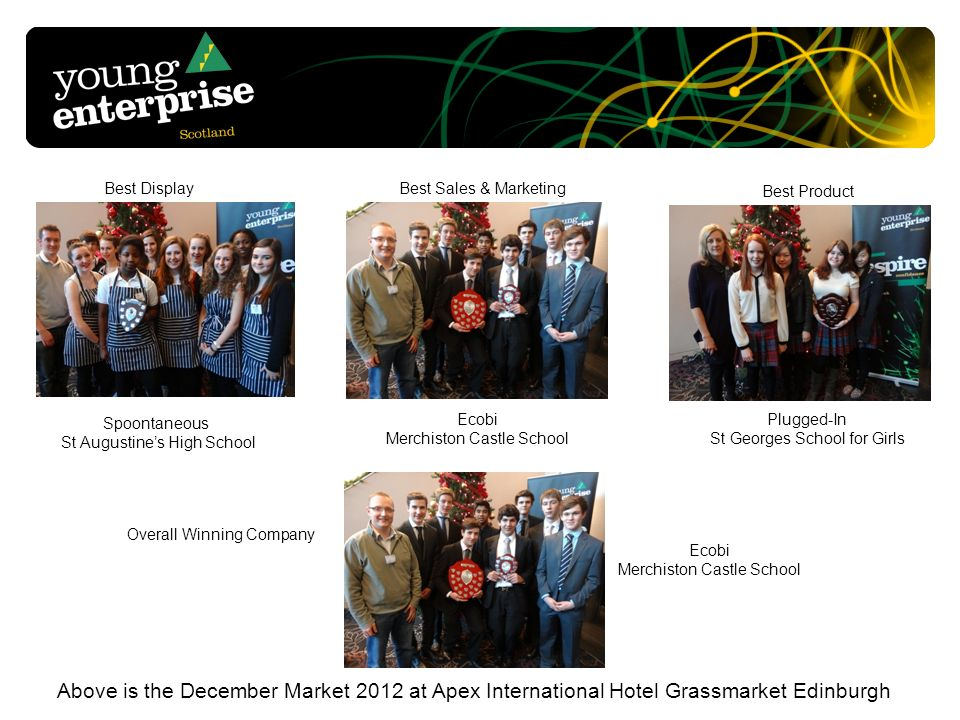 Above is the December Market 2012 at Apex International Hotel Grassmarket Edinburgh Best Display Best Sales & Marketing Best Product Overall Winning Company Spoontaneous St Augustines High School Plugged-In St Georges School for Girls Ecobi Merchiston Castle School Ecobi Merchiston Castle School