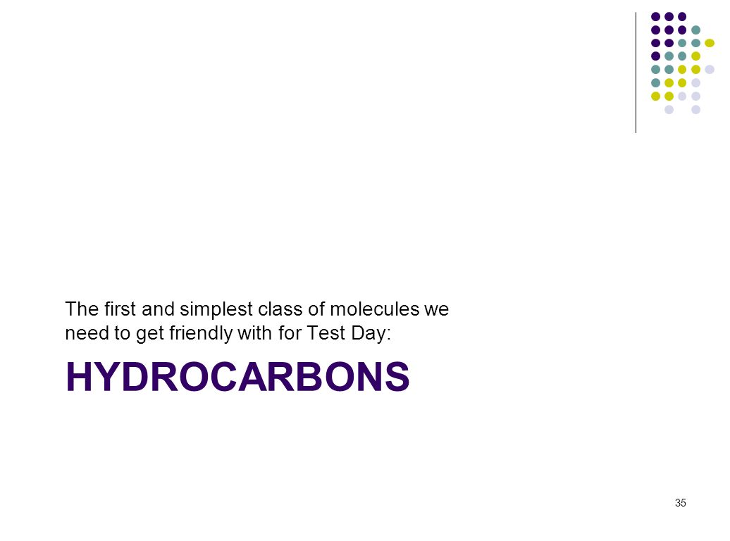 HYDROCARBONS The first and simplest class of molecules we need to get friendly with for Test Day: 35
