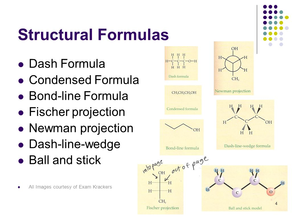 4 Structural Formulas Dash Formula Condensed Formula Bond-line Formula Fischer projection Newman projection Dash-line-wedge Ball and stick All Images